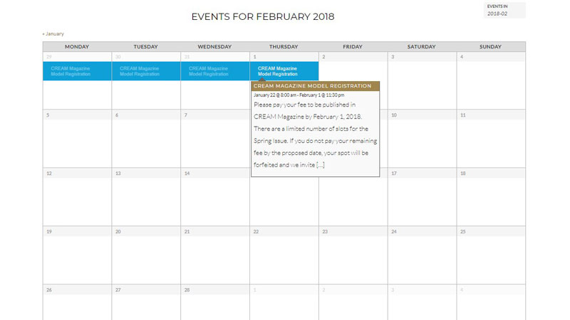 CamilReign Media Group - Event Calendar